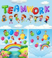 Bambini e palloncini per il lavoro di squadra di parole