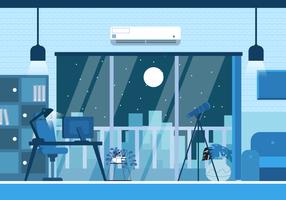 Illustrazione piana di vettore del fondo di installazione moderna dell'ufficio