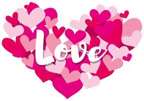 Modello di carta Velentine con la parola amore su forme di cuore vettore