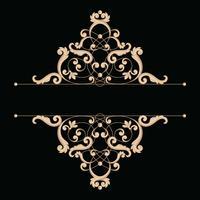Divisore o cornice in stile retrò calligrafico isolato su sfondo nero. vettore