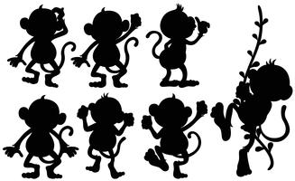 Silhouette scimmie in diverse posizioni vettore