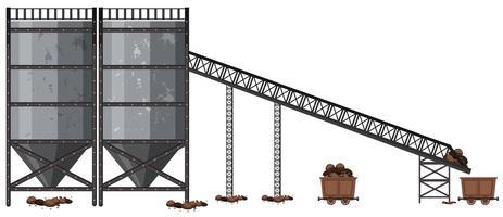 Una fabbrica di estrazione di carbone su sfondo bianco