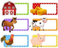 Etichette con diversi animali da fattoria