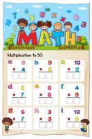 Foglio di lavoro di moltiplicazione matematica per studenti