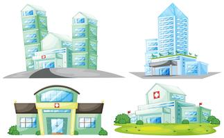 Insieme di edifici ospedalieri vettore
