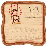 Fogli di lavoro di alfabeto di tracciamento numero dieci
