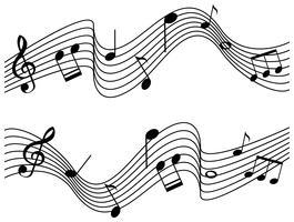Note musicali su due scale vettore