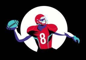Illustrazione piana di vettore di posa di football americano di posa eroica