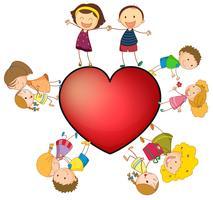 Bambini e cuore vettore
