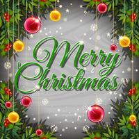 Modello di cartolina di Natale con palle e vischi vettore