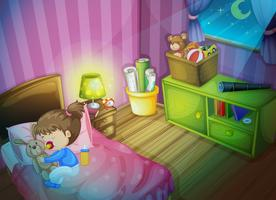 Bambina che dorme con la bambola del coniglietto in camera da letto