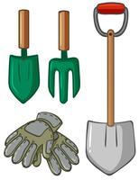 Attrezzi da giardinaggio con guanti vettore