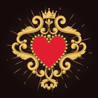 Bellissimo cuore rosso ornamentale con corona su sfondo nero. Illustrazione vettoriale