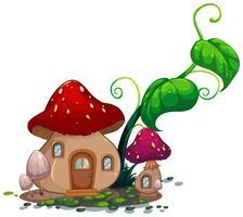 Casa dei funghi con foglie verdi vettore
