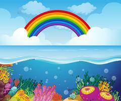 Una bella scena subacquea profonda vettore