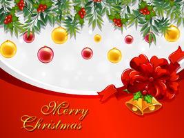 Modello di cartolina di Natale con campane e ornamenti