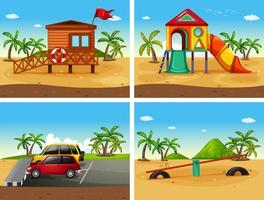Quattro scene di spiaggia con diversi giochi e parcheggi vettore