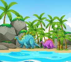 Dinosauro vicino alla spiaggia