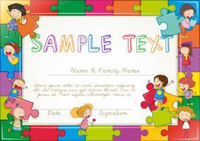 Modello di diploma con sfondo di puzzle e bambini