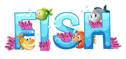 Progettazione di font per pesce parola vettore