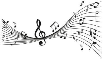Disegno di sfondo con note musicali vettore