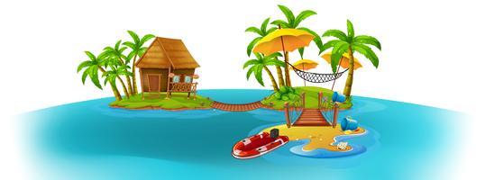 Scena di sfondo con due isole vettore