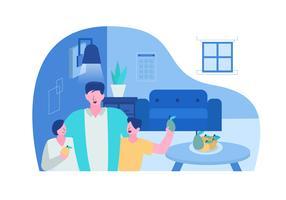 Famiglia felice per l'illustrazione piana di vettore di giornata mondiale di salute