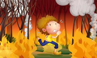 Un giovane uomo fugge da un incendio vettore