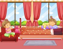 Due bambini che dormono e bevono latte in camera da letto