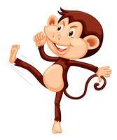 Una scimmia felice su backgroung bianco vettore