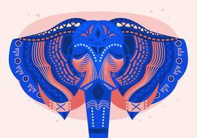 Illustrazione piana di vettore dipinto capo di festival dell'elefante