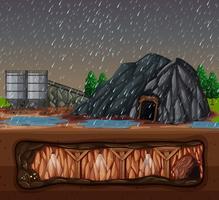 una miniera di pietra in una giornata piovosa vettore