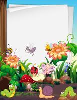 Disegno di carta con insetti nel giardino vettore