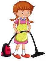 Ragazza aspirapolvere a pavimento con aspirapolvere vettore