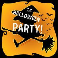 Tema di Halloween con la strega sulla scopa vettore