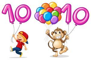 Ragazzo e scimmia con palloncino per il numero 10 vettore