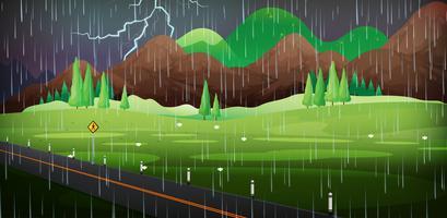 Scena di sfondo con la pioggia nel campo vettore