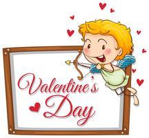 Cupido con freccia di tiro su carta di San Valentino