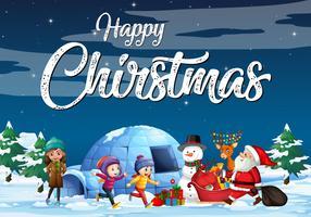Manifesto di tema di Natale con Santa nella neve vettore