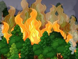 Una foresta con un disastro violento vettore