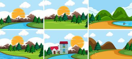 Set di paesaggio naturale vettore
