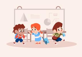 Bambini che giocano in classe carattere vettoriale illustrazione
