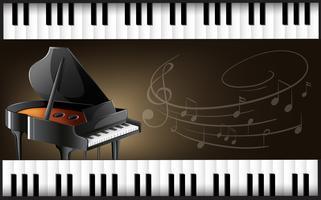 Pianoforte a coda con tastiere e note musicali vettore