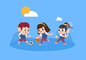 Bambini che giocano e che fanno illustrazione di carattere vettoriale all'aperto di sport