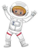 Astronauta in tuta spaziale bianca su sfondo bianco