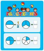 Un foglio di lavoro per le frazioni matematiche vettore