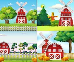 Quattro scene di fattoria con mulini a vento e fienili vettore