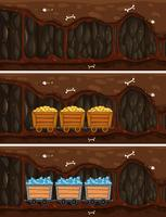 miniera della caverna con il carrello del tesoro di legno vettore