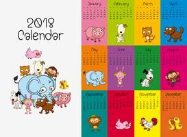 Modello di calendario 2018 con animali selvatici vettore