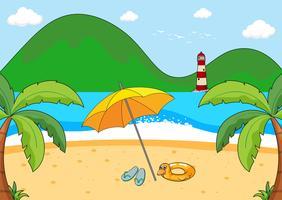 Una semplice scena da spiaggia vettore